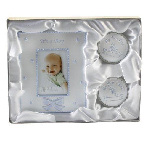 Party Savvy - Regalo per battesimo con cornice e scatolina per primo ricciolo e primo dentino