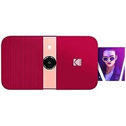 KODAK Smile Appareil Photo numérique - Appareil Photo numérique à Ouverture par glissière 10 MP avec imprimante Zink 2x3, écran, Mise au Point Fixe, Flash Automatique et édition de Photos - Rouge