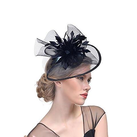 DUUMY Femmes 2017 New mode Feather net Harnais Banquet Chapeau Chevaux Chapeaux Danse Bride Gauze Handmade Headdress Bijoux de Mariage , black