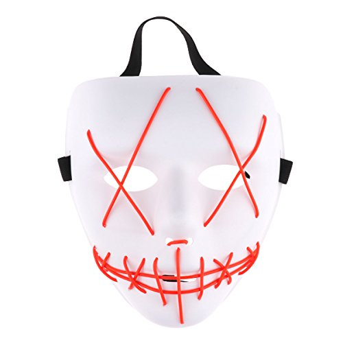 CHICTRY LED Light Maske EL Wire Cosplay Maske Purge Mask Blitzmodi Horror Halloween Maske Cosplay Festival Fasching Karneval Kostüm Weiß & Rot One Size