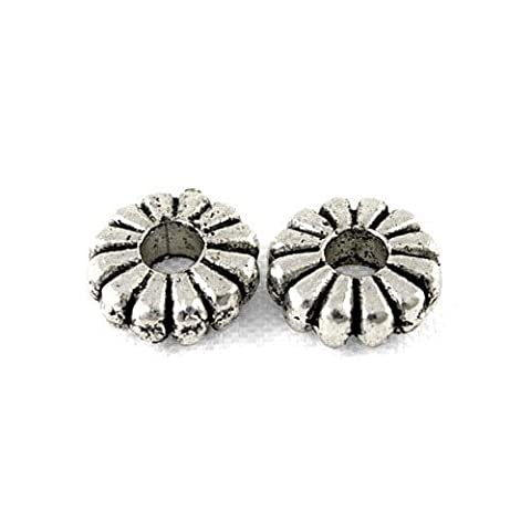 Packet of 50+ Antique Silver Tibetan 7mm Flower Spacer Beads - (HA15695) - Charming Beads