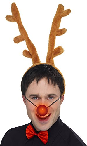 Kostüme Jolly Elf Erwachsenen (Smiffy's 25718 - Ren-Kit mit Hörnern Flashing-Nasen-Fliege,)