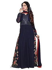 f855b54d209 Ethnic Yard Designer Georgette Embroidered Anarkali Semi Stitched Salwar  Suit