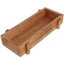 Luoxxxka - Macetero rectangular de madera para jardín, diseño vintage, madera, marrón,