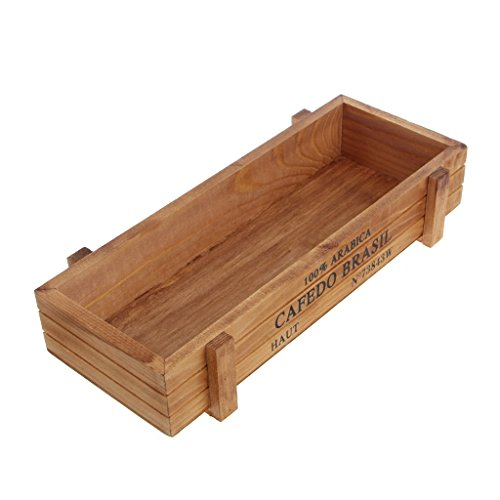 Sitonelectic - Maceta de madera vintage para plantas suculentas, maceta de jardín rectangular marrón