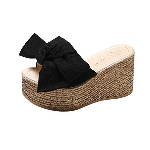 Liuchehd sandali donna con zeppa estive elegant scarpe donna estive eleganti scarpe donna tacco medio sandali gioiello sandali pantofole (nero, asia 38)