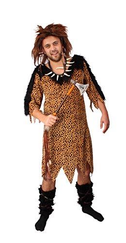 Höhlenmensch Outfit (Neandertaler Kostüm für Herren | Größe: 50-52 | Höhlenmensch Verkleidung für Karneval & Fasching | Steinzeit-Outfit für Neandertaler-Verkleidung | Erwachsenenkostüm ideal für)