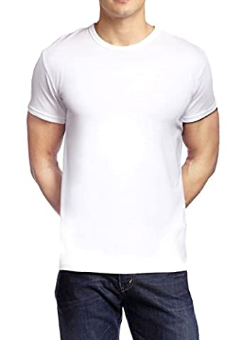 Mens 'Muscle Fit Basics' Heavyweight Fitted Plain Crew Neck Basic T-Shirt - 5 Colours (L, White)