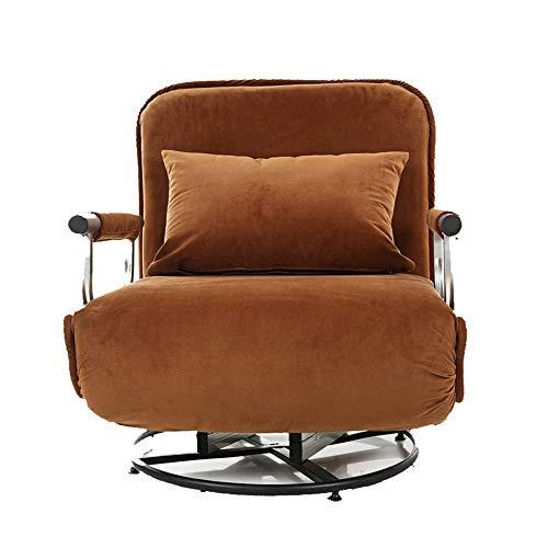 Schlafzimmer Liege (WJS Drehbare Lazy Sofa Single Flanell Schlafsofa Verstellbare Weiche Rückenlehne Schlafzimmer Wohnzimmer Freizeit Sitz 190 × 68 cm (Color : Brown))