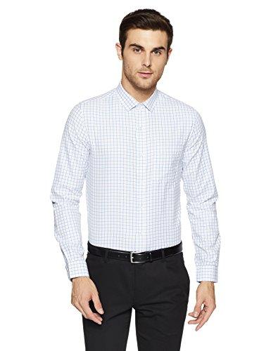 Excalibur EX Men's Solid Regular Fit Formal Shirt (276436841 Blue 42 FS)