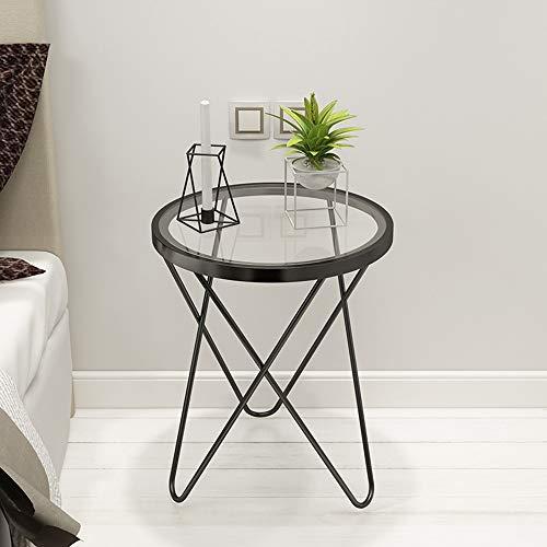 DEO Table d'appoint ronde - Verre trempé et extrémité en métal Table 2 couleurs (Couleur : NOIR)