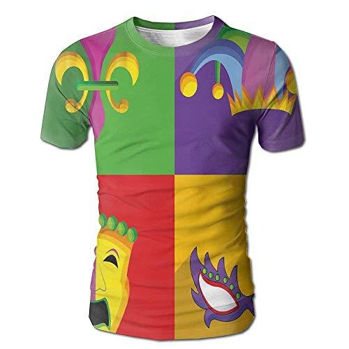 Bunte Rahmen mit Mardi Gras Icons Masken Harlekin Hut und Fleur De Lis Print Herren Kurzarm T-Shirt