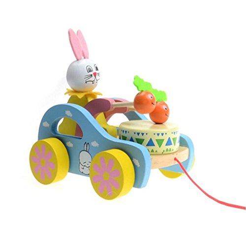 Edealing (TM) Hölzernes nettes Kind-Kaninchen-Schlag-Trommel-Ziehen-Wagen-pädagogisches Spielzeug für Kinder Kleinkind