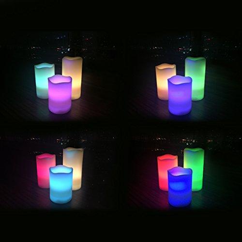 Juego de Tres Velas Eléctricas de Cera Real Sin Llama, Con Iluminación LED, Control Remoto Y Temporizador