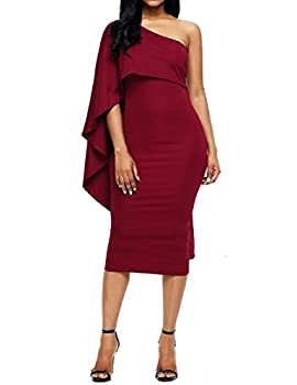 Lrud Ladies Off Shoulder Ruffles Batwing Cape Party Bodycon Midi Pencil Dresses 2