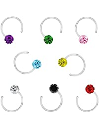 PeenZone 92.5 Silver Multi Color Nosepin Stud Set for Women & Girls