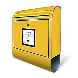 Banjado Design Briefkasten mit Motiv Briefkasten Gelb | Stahl pulverbeschichtet mit Zeitungsrolle | Größe 39x47x14cm, 2 Schlüssel, A4 Einwurf, inkl. Montagematerial