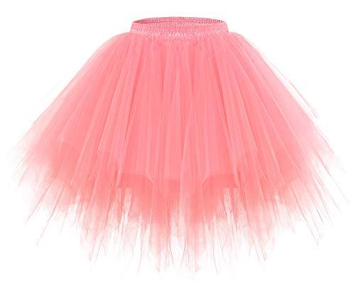 Kostüm Kleid Donut - bridesmay Tutu Damenrock Tüllrock 50er Kurz Ballet Tanzkleid Unterkleid Cosplay Crinoline Petticoat für Rockabilly Kleid Coral L