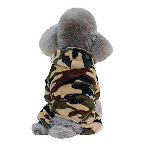 Allegorly Haustier Hunde Camo Sweatshirt Mit Kapuze Mini Hündchen Welpe Süß Winter Warme Flanell Kapuzenpullover Sweater Hundemantel Weich Elastisch Hundejacke Shirt -