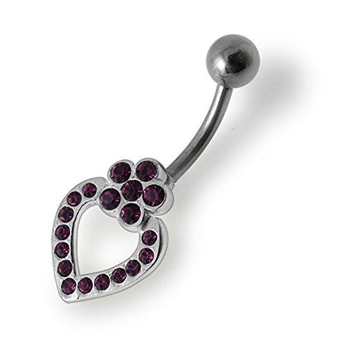 Bijou anneau nombril en argent sterling 925 Fleurs pierres fantaisies et pendant Banane 14Gx3/8(1.6x10MM) acier chirurgical 316L et boule 5mm Purple