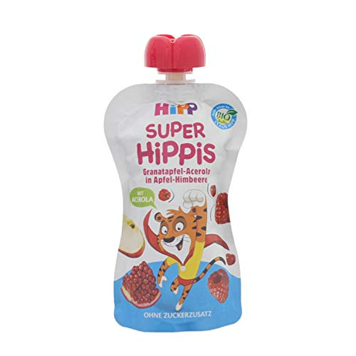 HiPP Super-HiPPiS Quetschbeutel, Granatapfel-Acerola in Apfel-Himbeere, 100{803956358f00f0ae4c3b27322d4717fc642d1b45a9dd806d3c1fc9b7347094c6} Bio-Früchte ohne Zuckerzusatz, 6 x 100 g Beutel