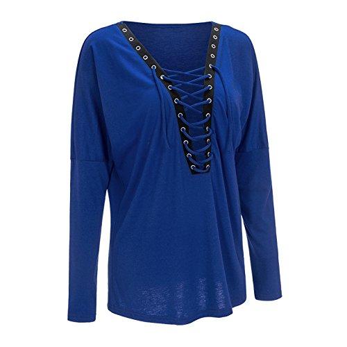 Damen Mode Freizeit Top Einfarbige Langarm Oberteile Loose T-shirt Die Gekreuzte Trägervariante Blouse Blau