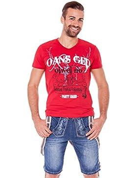 Trachten Jeansshorts mit Hosenträger - LEO - blau