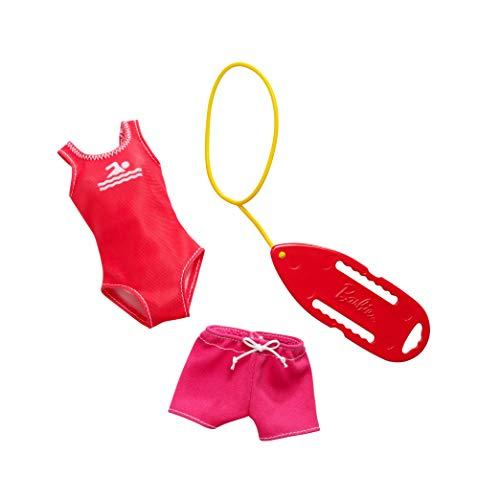 Mattel-Barbie - FXH97 - Berufsoutfit Rettungsschwimmerin inkl. Badeanzug, Short und Schwimmbrett, Kleid, Mode, Fashion, Kleidung passend für Barbie