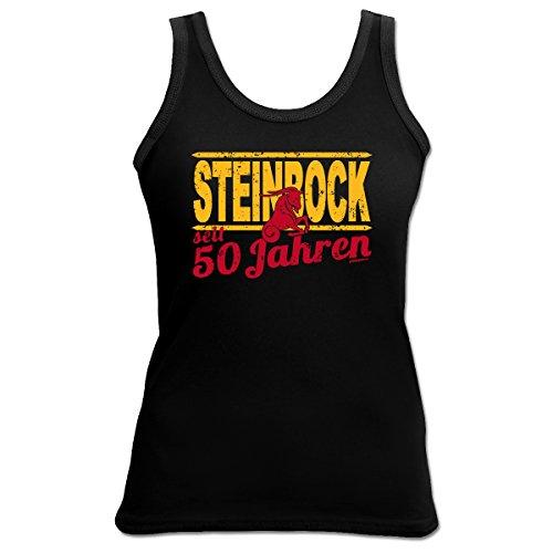 TankTop T-Shirt ::: Steinbock seit 50 Jahren ::: zum Geburtstag mit Sternzeichen Schwarz