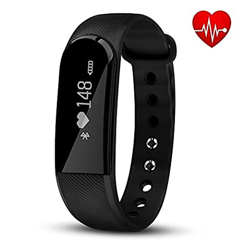 Fitness Tracker with Heart Rate Monitor, Hembeer Venus V3 Smart Bracelet Pedometer Activity Tracker Sleep monitor Bluetooth 4.0 Wristband with app for iOS & Android Smartphone, Black