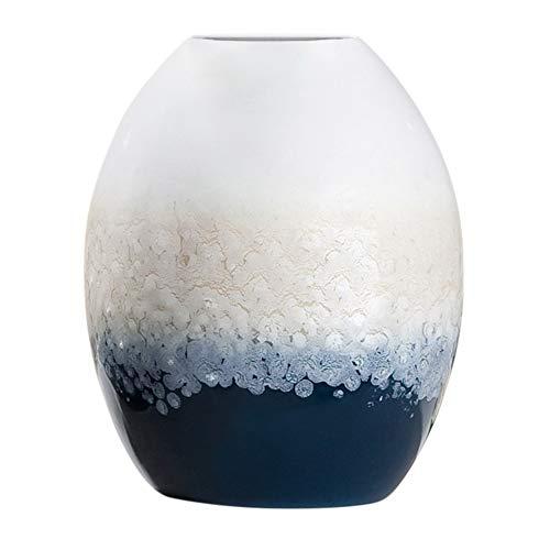 GILDE Ovalvase 'Laguna', 27 cm, Creme-Sand-blau -