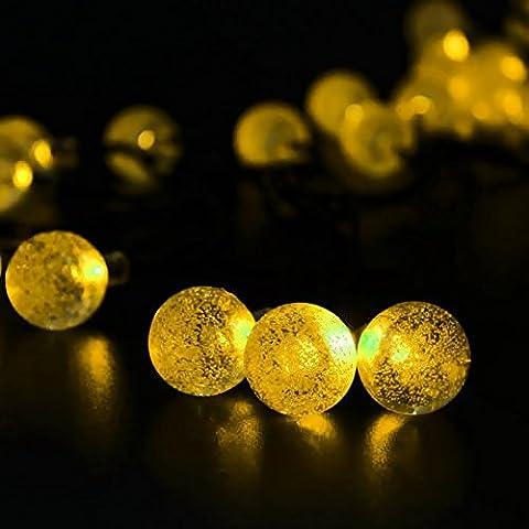 iwish impermeable 30LED Solar Bola de cristal de luz solar guirnalda de luces para exteriores, jardines, hogares, boda, fiesta de Navidad, plástico, blanco 1.80 wattsW 220.00 voltsV