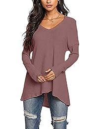 29c2727f2b5a YOINS Pullover Damen Elegante Oberteile Damen Sexy Langarmshirt Blusen Top  V-Ausschnitt T-Shirts