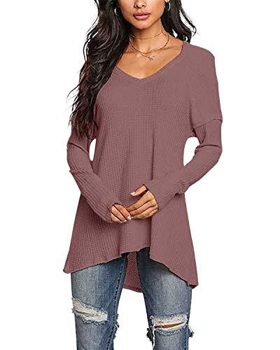 YOINS Pullover Damen Elegante Oberteile Damen Sexy Langarmshirt Blusen Top V-Ausschnitt T-Shirts Rost rot XL/EU46
