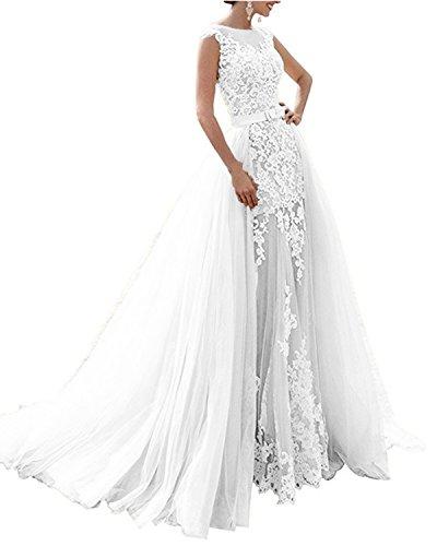 APXPF Damen Meerjungfrau Zwei Stücke schnüren sie Lange Brautkleid mit abnehmbarem Tüllrock 4...