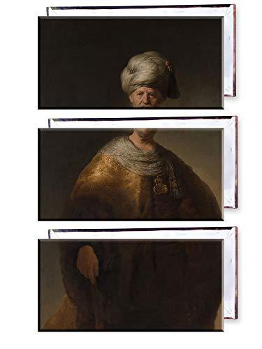 Unified Distribution Rembrandt - Der Edelslaw (Mann in orientalischem Kostüm) - Klassisches Gemälde - Replik auf Leinwand Dreiteiler (120x80 cm) (Kostüm Vinci Da)