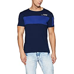 Symbol Men's Stylized Half Sleeve Cotton T-Shirt (AW17PLK92_L_Iris Navy)