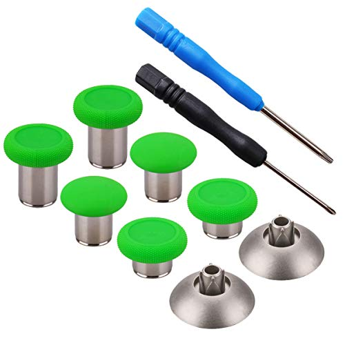 YoRHa 8 in 1 Metall Magnetische Thumbsticks Analog Sticks Joysticks Ersatz Reparatur Kits (Grün) für PS4/Slim/Pro & Xbox One/Elite/X/S Controller mit Schraubendreher
