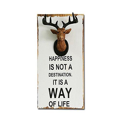 urgrace 1pcs madera ciervo cabeza de alce pintura decoración de hogar habitación Bar tienda cita palabras la felicidad no es un destino Vintage estilo americano Junta S/L tamaño Talla:largo