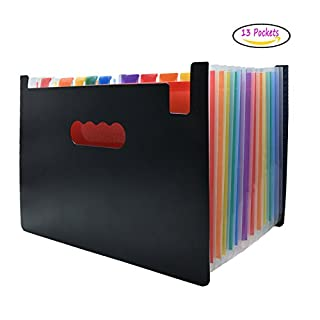 Dateiordner Erweitern Fächermappe Dateiordner Organizer AOJIA Expanding Datei Ordner 13 Taschen A4 Briefgröße Akkordeon Datei Box Brieftasche Regenbogen