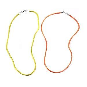 Sterling Argento Nastro in tessuto da donna catena ca. 45cm 2PZ. Argento Rodiato Verde/Arancione