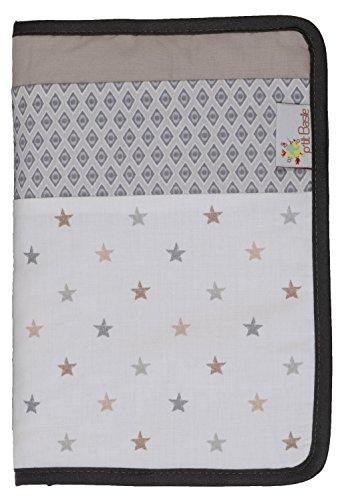 P'tit Basile - Protège Carnet de Santé bébé mixte - Coton Bio - imprimé petites étoiles - 23x17 cm - blanc et gris
