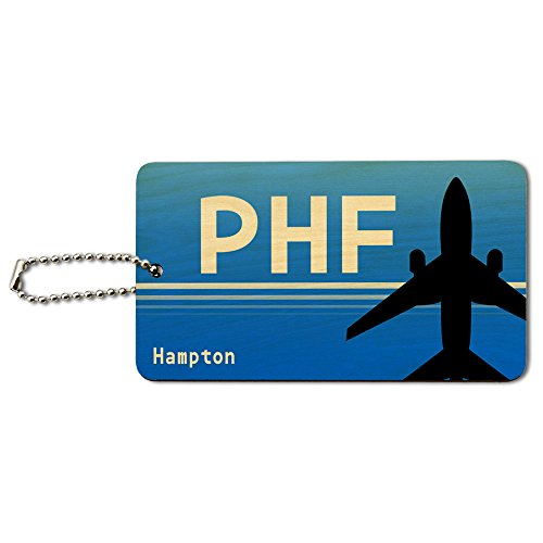 Hampton Holz (Hampton VA (PHF) Flughafen Code Holz ID-Tag Gepäck-Koffer Handgepäck)