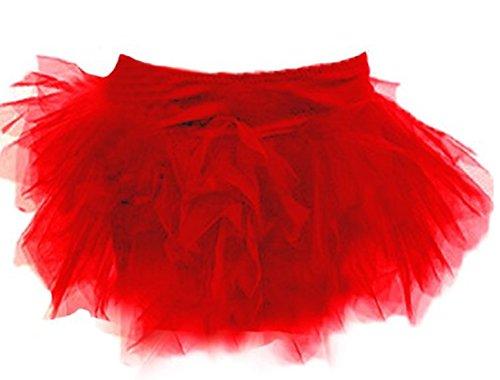 Autek Frauen Tu Tu Rock Burlesque Kostüm Size S-2XL Deluxe Layered Tutu Damen Abendkleid Dress (S, red) (Burlesque Kostüme Red)
