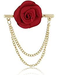 Marvel Panjatan Men's Maroon Rose Capsule With Golden Chain Pin Brooch For Unisex