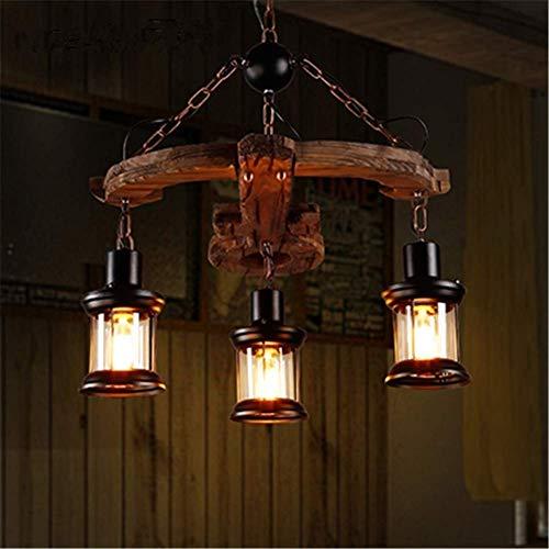 Vintage kreative Hängelampe Armbrust Modellierung Massivholz Deckenbeleuchtung mit 3 Köpfen Schmiedeeisen Glas Käfig Schatten E27 Durchmesser 21,6 Zoll [Energieklasse A ++]