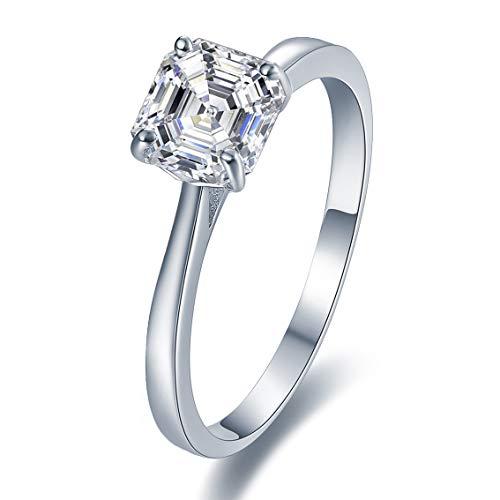 Sreema London  -  925 Sterling-Silber  Sterling-Silber 925 Asscherschliff   Farblos Oxyde de Zirconium  (Verlobungsringe Diamant 1ct)