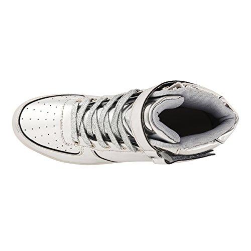 AFFINEST Haut-dessus chargement USB LED chaussures clignotant chaussures de sport pour les enfants silver
