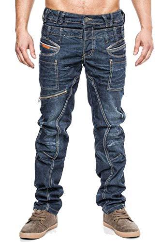ArizonaShopping - Hosen Jeansnet Herren Hose Cargo Taschen Regular Fit H1305, Größe Jeans:W32 - Zerschlissene Jeans