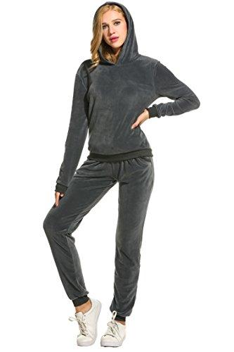 Uni Belle Chándal para Mujer Jumpsuit Sudadera con Capucha Pantalón chándal Tracksuit Ocio Traje Gris L